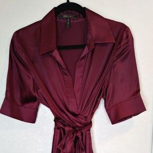 BSBG Max AZRIA Burgundy Silk Wrap Tie Dress Size 8